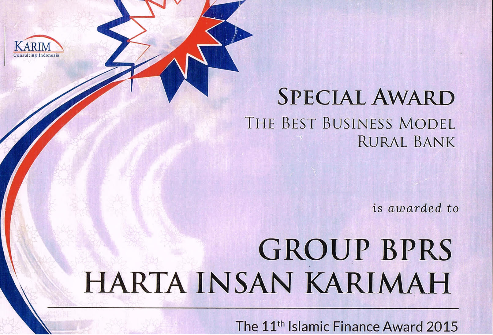 Special Award The Best Busines Model RUral Bank